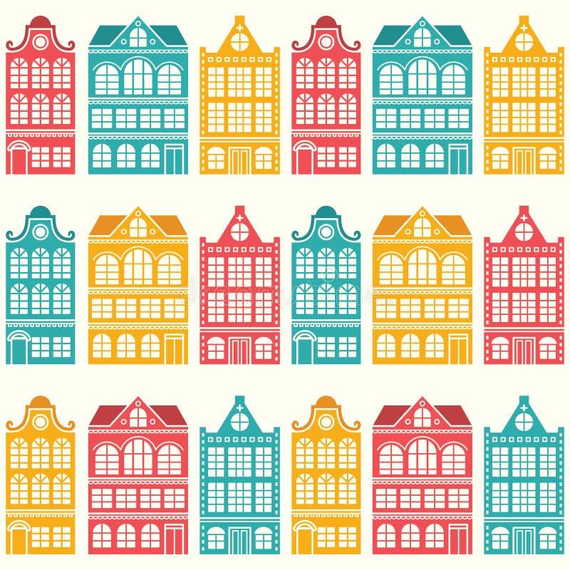 Modèle sans couture de maison - Néerlandais, maisons d'Amsterdam, style moderne de la moitié du siècle illustration libre de droits