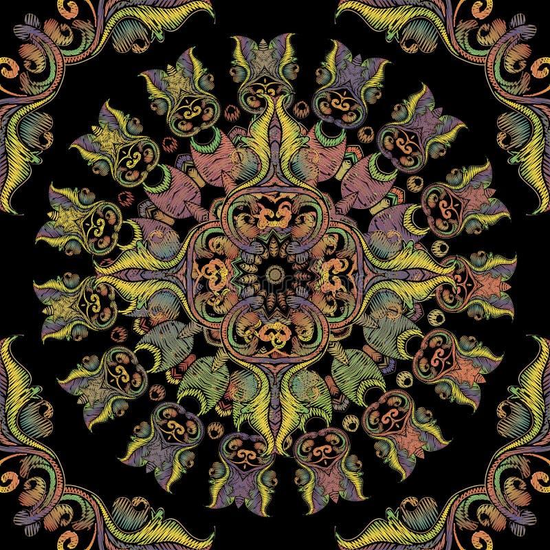 Modèle sans couture de mandala baroque de broderie Ornement floral de Paisley de rond de tapisserie color?e de vecteur Texture gr illustration stock