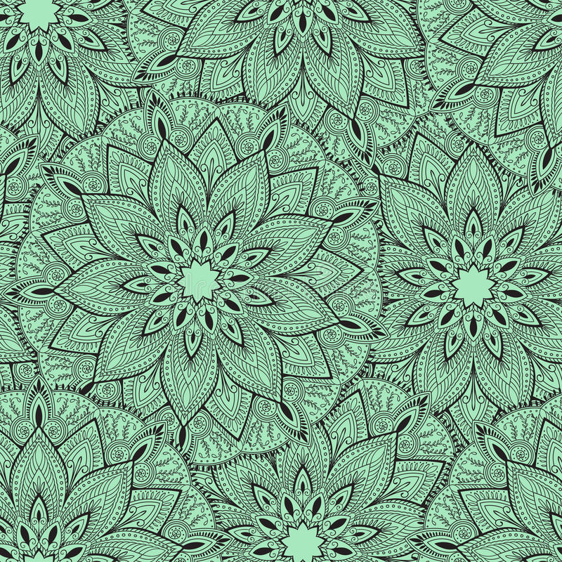 Modèle sans couture de mandala pour imprimer sur le tissu ou le papier Fond tiré par la main L'Islam, l'arabe, Indien, motifs de  illustration de vecteur