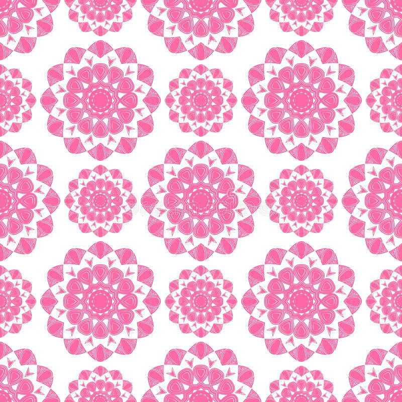 Modèle sans couture de mandala rose de fleur photo stock