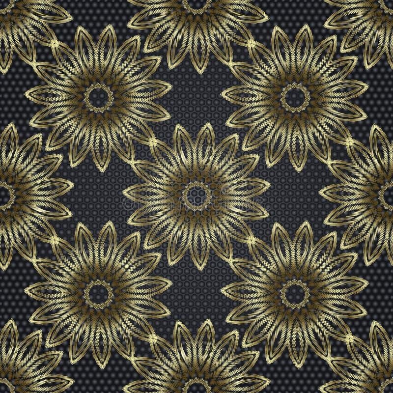 Modèle sans couture de mandala de vecteur floral de l'abrégé sur 3d tapisserie Fond texturis? ornemental Fleurs 3d brodées décora illustration stock