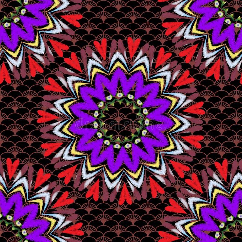 Modèle sans couture de mandala de vecteur floral de tapisserie Fond texturisé de dentelle colorée ornementale Fleurs et coeurs br illustration stock