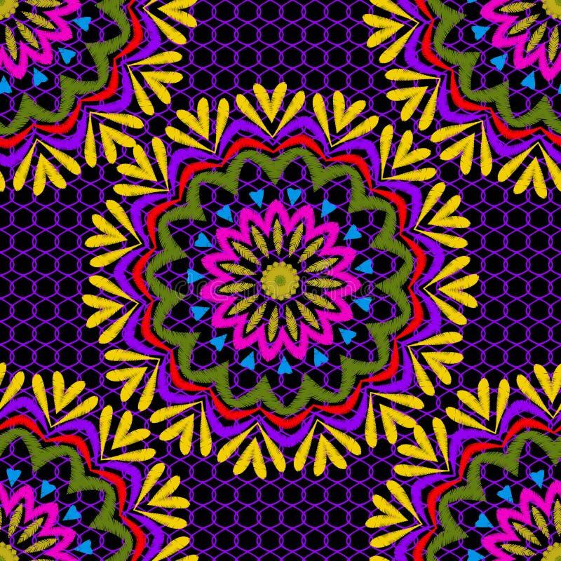 Modèle sans couture de mandala de vecteur floral de tapisserie Fond texturisé de grille colorée ornementale de dentelle Fleurs br illustration libre de droits
