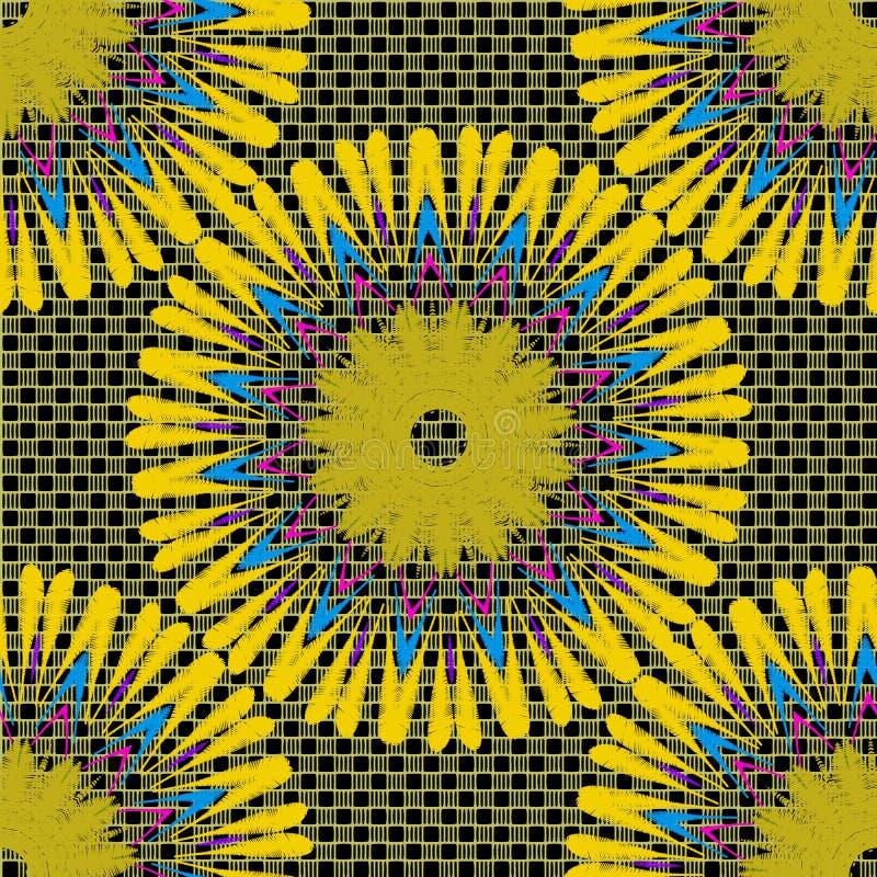 Modèle sans couture de mandala de vecteur floral de tapisserie Fond texturisé de grille colorée ornementale de dentelle Fleurs ja illustration stock