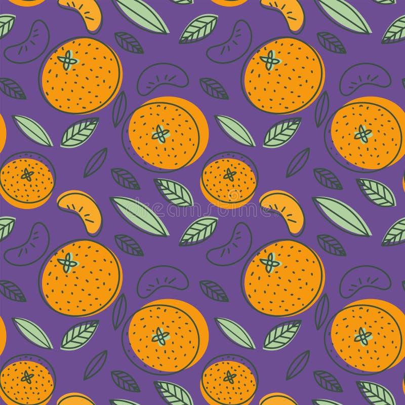 Modèle sans couture de mandarine Mandarine de vecteur TR frais tiré par la main illustration stock