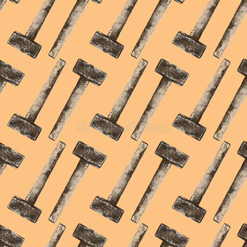 Modèle sans couture de marteau de forgeron dans le style de cru images libres de droits
