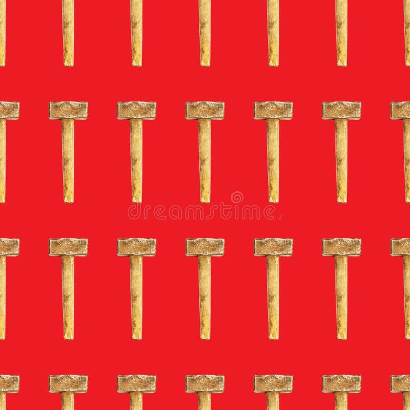Modèle sans couture de marteau de forgeron sur le fond rouge photo libre de droits