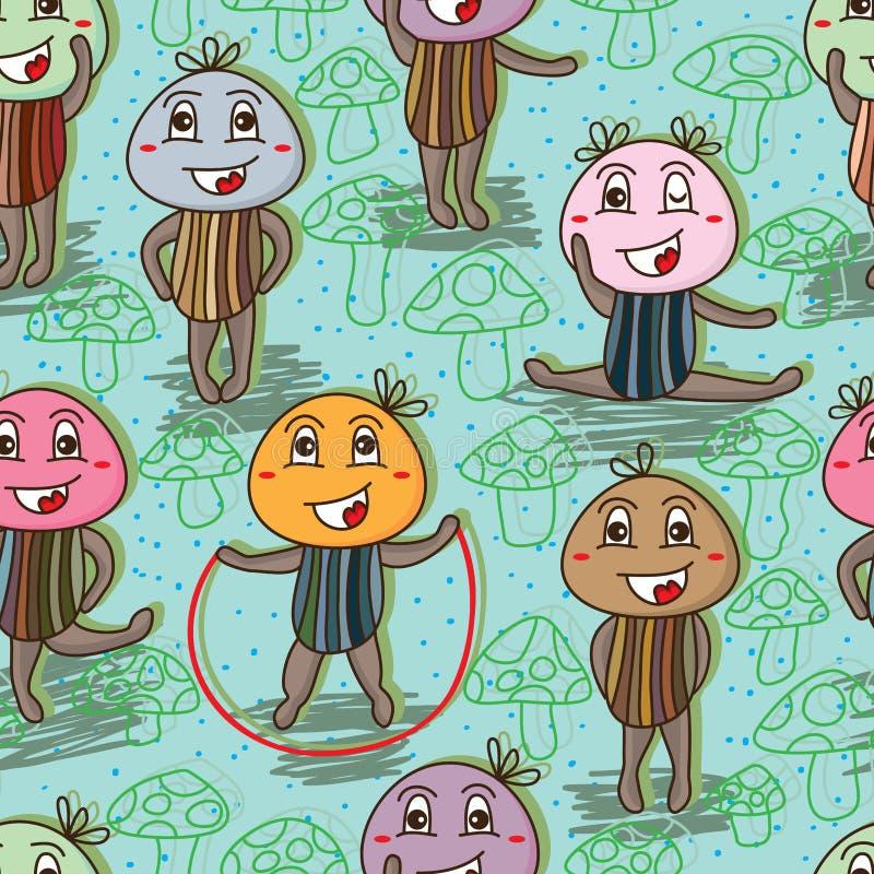 Modèle sans couture de mascotte heureuse de champignon illustration stock