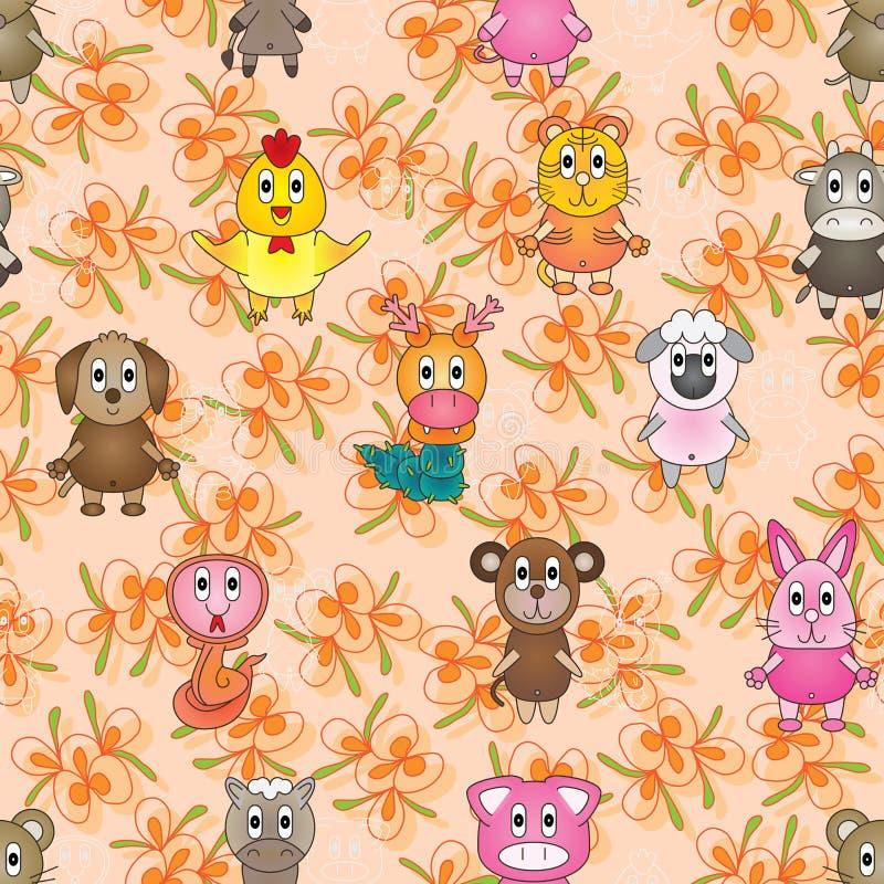 Modèle sans couture de match animal de zodiaque illustration stock
