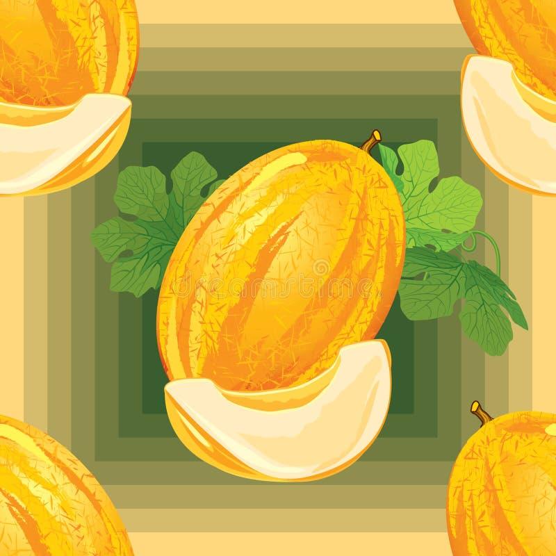 Modèle sans couture de melon mûr illustration stock