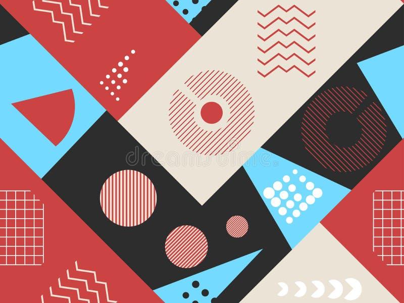 Modèle sans couture de Memphis Éléments géométriques Memphis dans le style de 80s Bauhaus rétro Vecteur illustration de vecteur