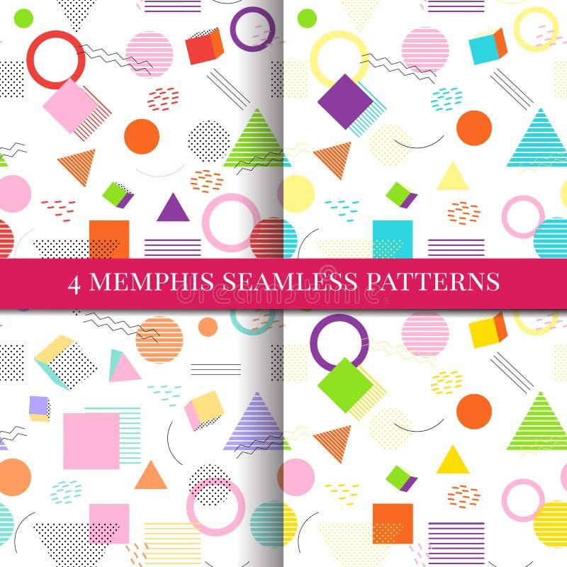 Modèle sans couture de Memphis sur le fond Style de Memphis coloré illustration libre de droits
