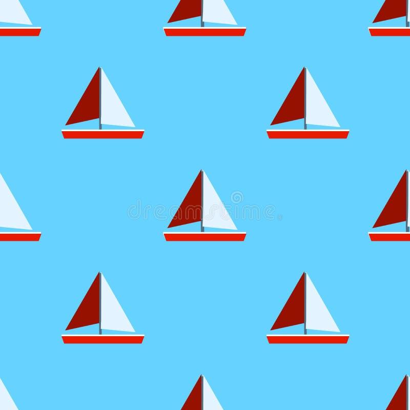 Modèle sans couture de mer avec des bateaux et des ancres de navigation sur le fond bleu Modèle nautique Conception plate illustration libre de droits