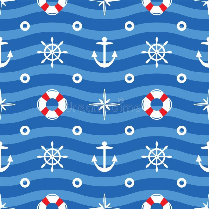 Modèle sans couture de mer, fond onduleux de l'eau de mer illustration libre de droits