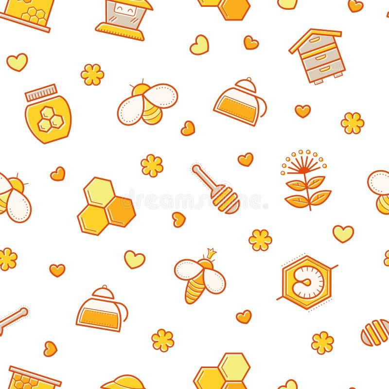 Modèle sans couture de miel avec les signes frottés de l'apiculture illustration libre de droits