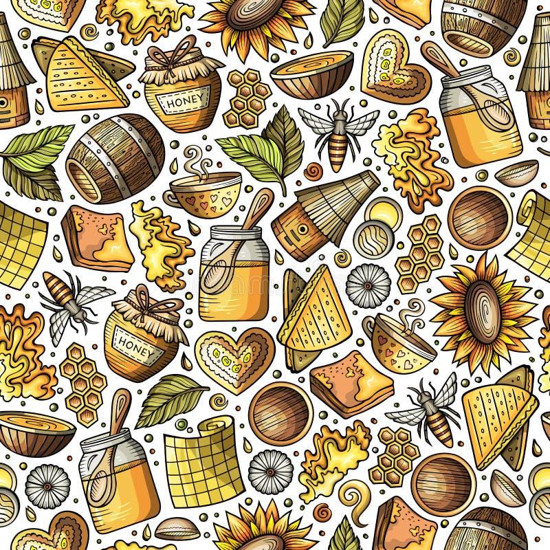 Modèle sans couture de miel mignon de bande dessinée illustration de vecteur
