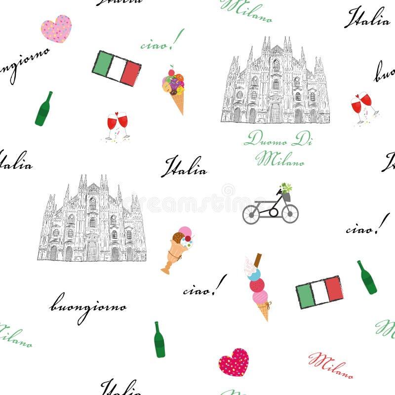 Modèle sans couture de Milan, Italie avec la cathédrale tirée par la main de Duomo d'éléments de croquis, drapeau, modèle t illustration libre de droits