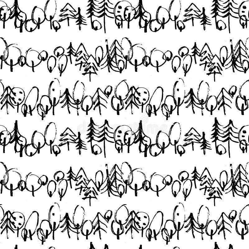 Modèle sans couture de Minimalistic avec les arbres tirés par la main Modèle moderne élégant avec l'arbre gribouillé Peu précis d illustration de vecteur