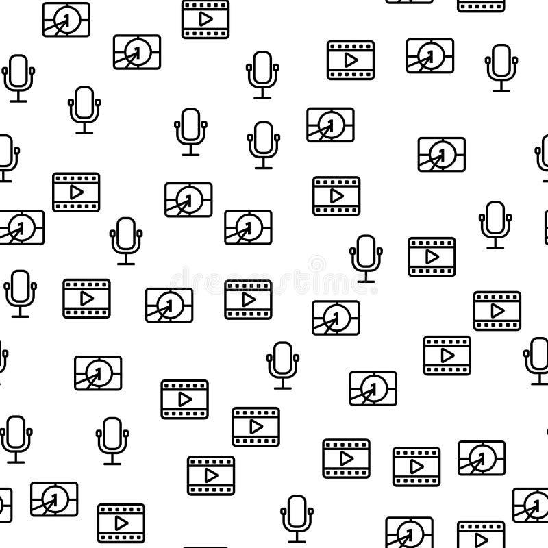 Modèle sans couture de minuterie de microphone de production de film illustration libre de droits