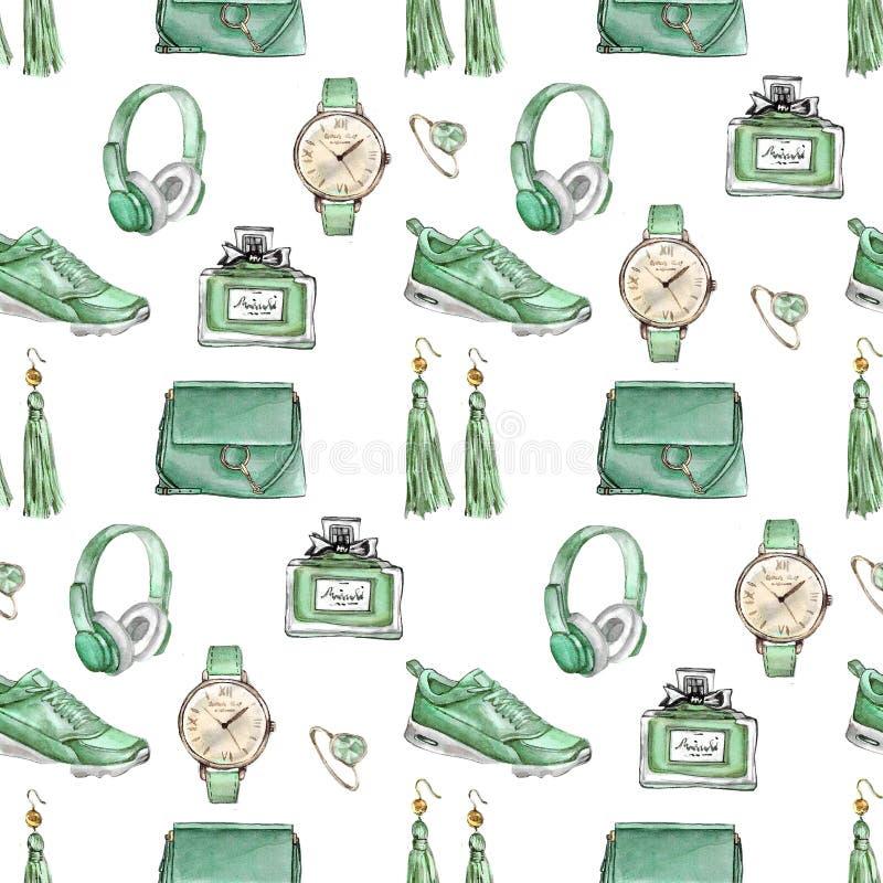 Modèle sans couture de mode d'aquarelle Ensemble d'accessoires à la mode Sac, boucles d'oreille, montres, espadrilles, parfum, an illustration de vecteur