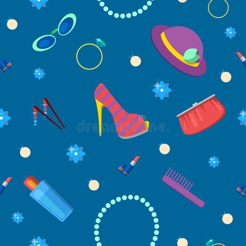 Modèle sans couture de mode de femme avec des cosmétiques, les accessoires et les vêtements illustration stock