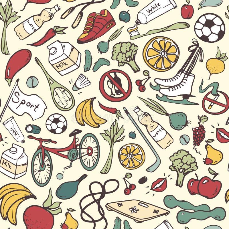 Modèle sans couture de mode de vie sain Fond tiré par la main avec la forme physique, sport, symboles de fruits et légumes griffo illustration stock