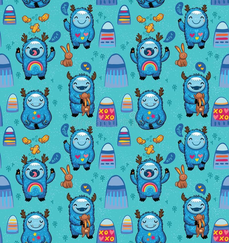 Modèle sans couture de monstres mignons sur un fond bleu Dirigez les personnages de dessin animé avec l'amusement bleu de yetis e illustration de vecteur