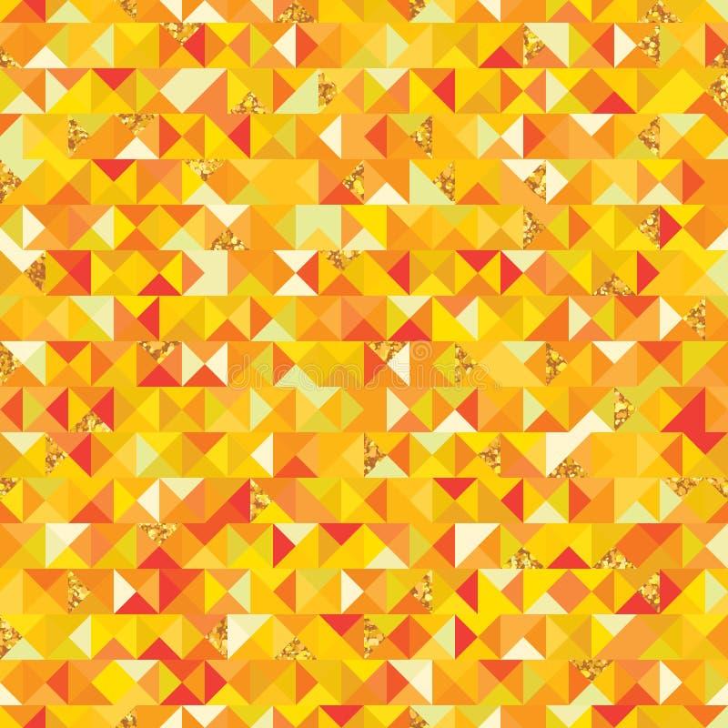 Modèle sans couture de morceau d'or de giltter de triangle illustration de vecteur
