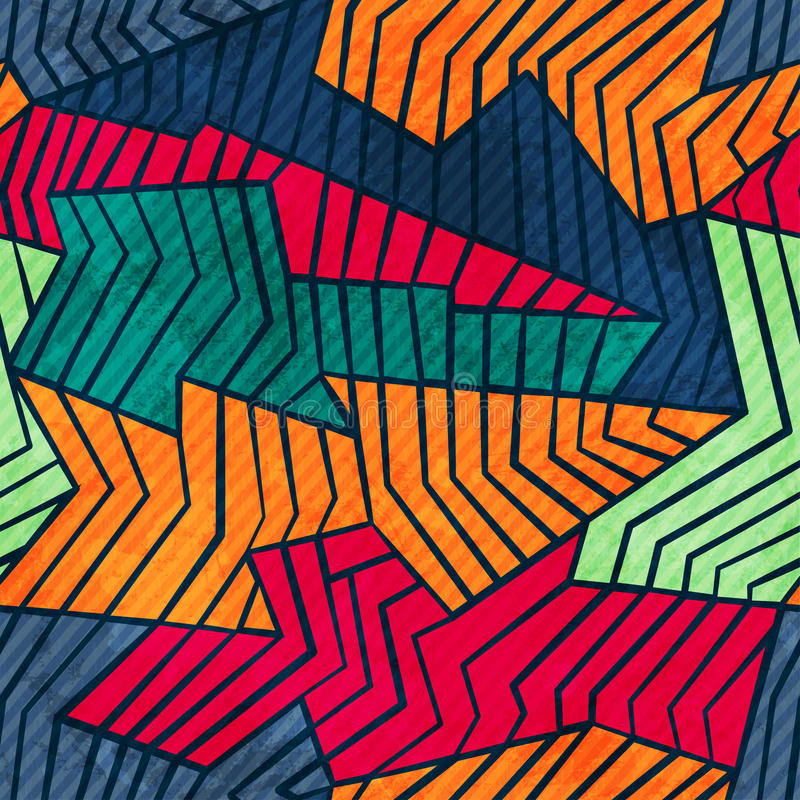 Modèle sans couture de mosaïque grunge illustration de vecteur