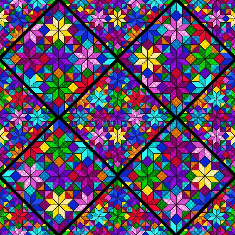 Modèle sans couture de mosaïque lumineuse des places, des losanges et des triangles multicolores illustration de vecteur