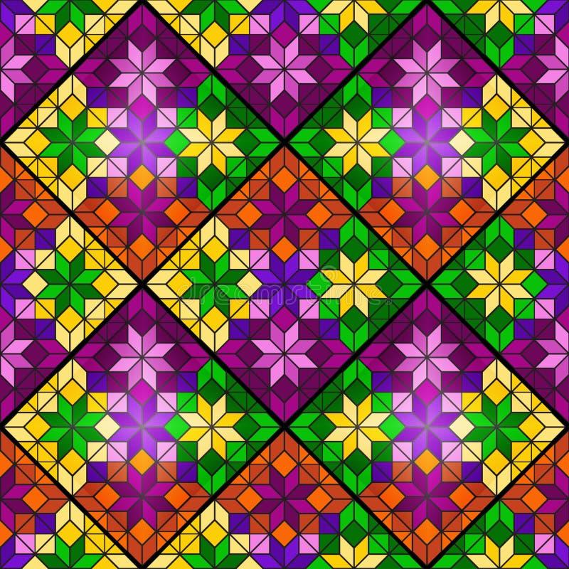 Modèle sans couture de mosaïque lumineuse des places, des losanges et des triangles multicolores Hublot en verre souillé 6 illustration stock