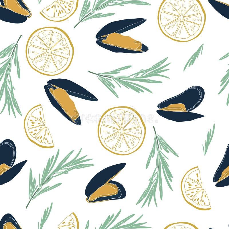 Modèle sans couture de moule dans le style plat d'isolement sur le fond blanc Concept coloré par fruits de mer Grande conception  illustration libre de droits
