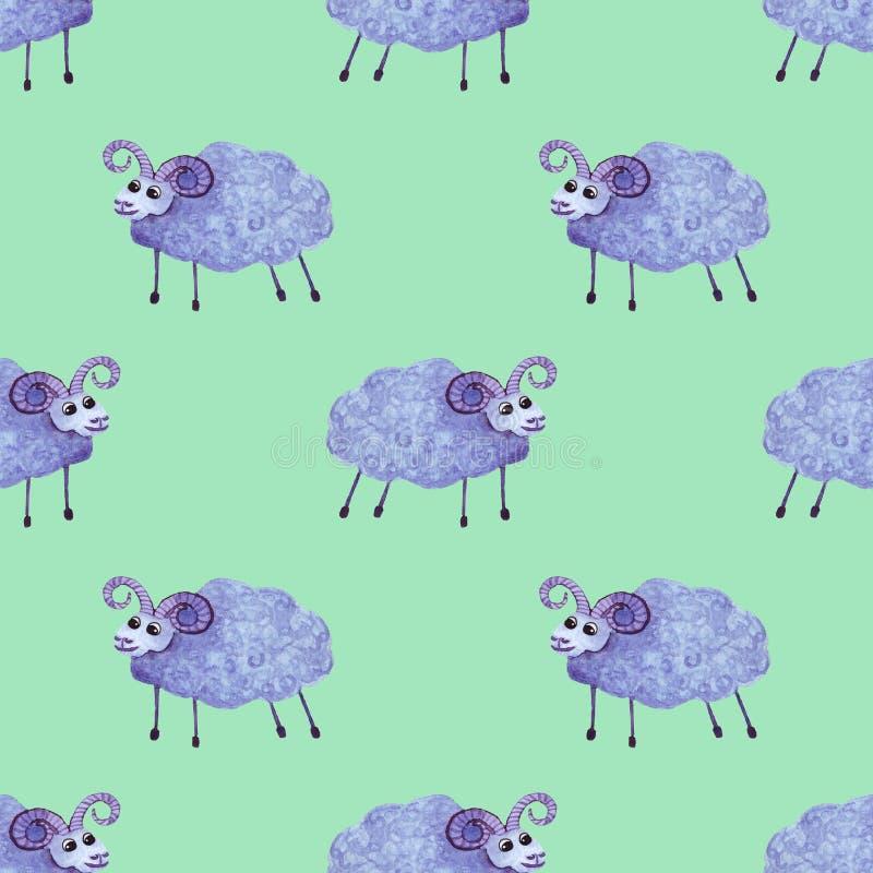 Modèle sans couture de moutons bleus mignons d'aquarelle Mod?le d'amusement pour des enfants illustration libre de droits