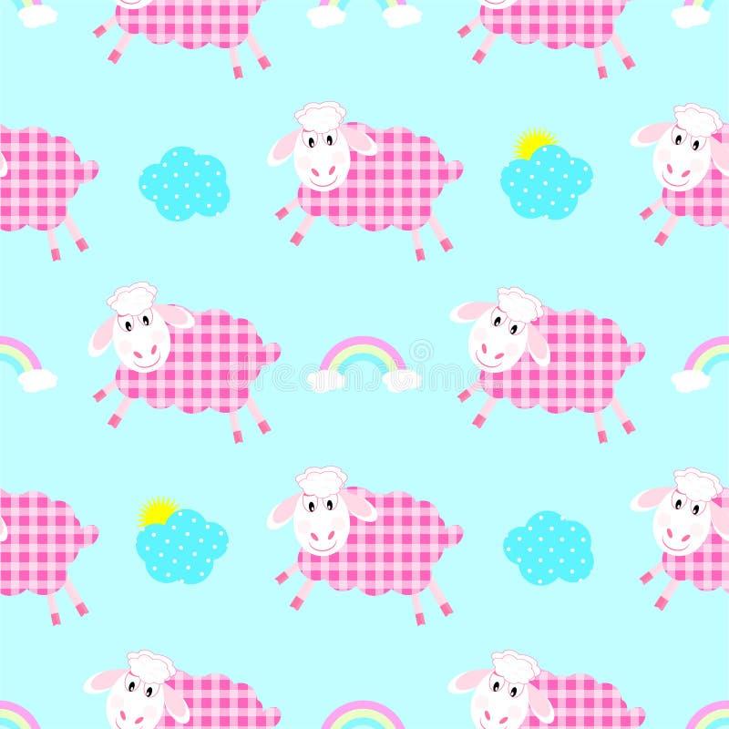 Modèle sans couture de moutons mignons illustration stock