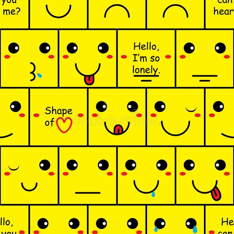 Modèle sans couture de mur de sourire de boîte illustration stock