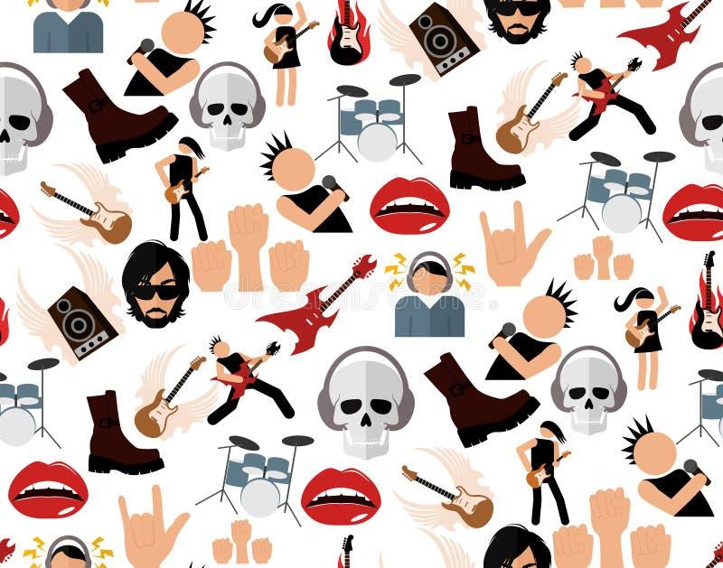 Modèle sans couture de musique rock illustration stock