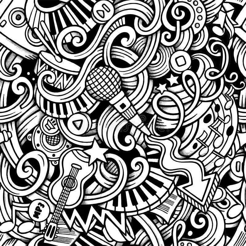 Modèle sans couture de musique tirée par la main de griffonnages de bande dessinée illustration stock