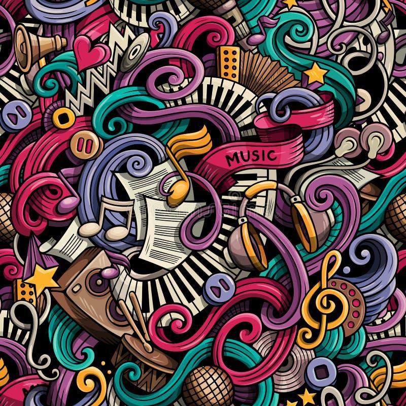 Modèle sans couture de musique tirée par la main mignonne de griffonnages de bande dessinée coloré illustration de vecteur