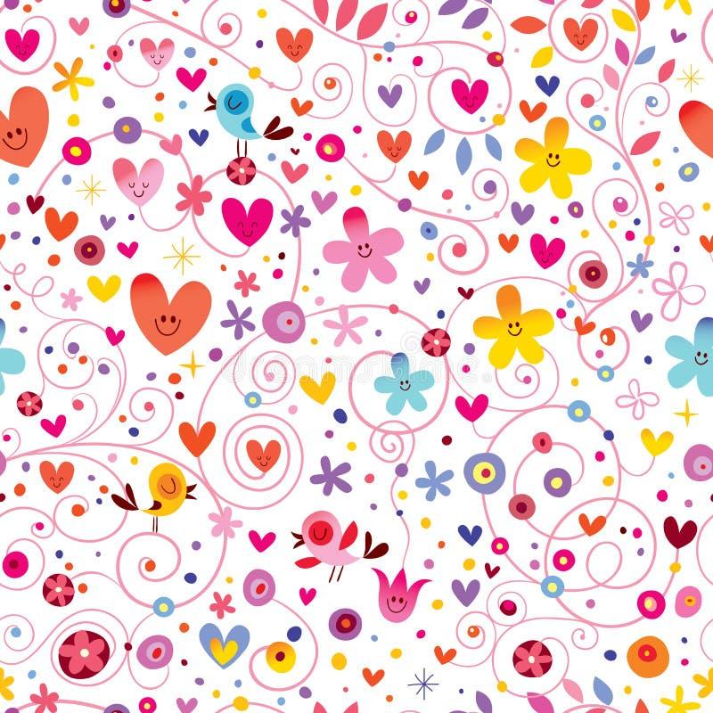 Modèle sans couture de nature florale de fleurs d'oiseaux de coeurs illustration libre de droits