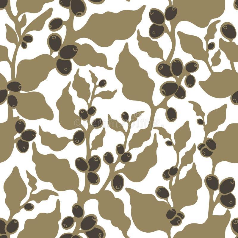 Modèle sans couture de nature de vecteur Plantation de café, récolte, feuillage d'or illustration stock