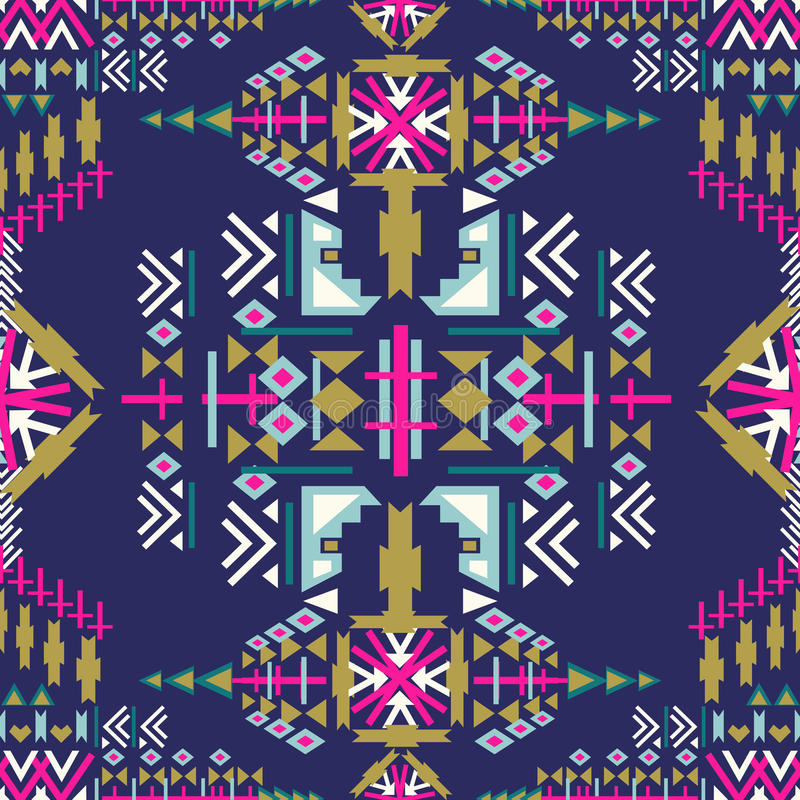 Modèle sans couture de Navajo coloré copie géométrique abstraite aztèque Contexte ethnique de hippie Montant aztèque, art tribal  illustration libre de droits