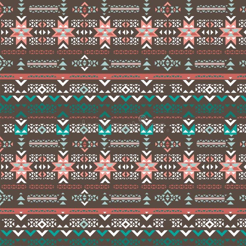 Modèle sans couture de Navajo de rétro vecteur tribal de couleurs Copie géométrique abstraite aztèque d'art illustration stock