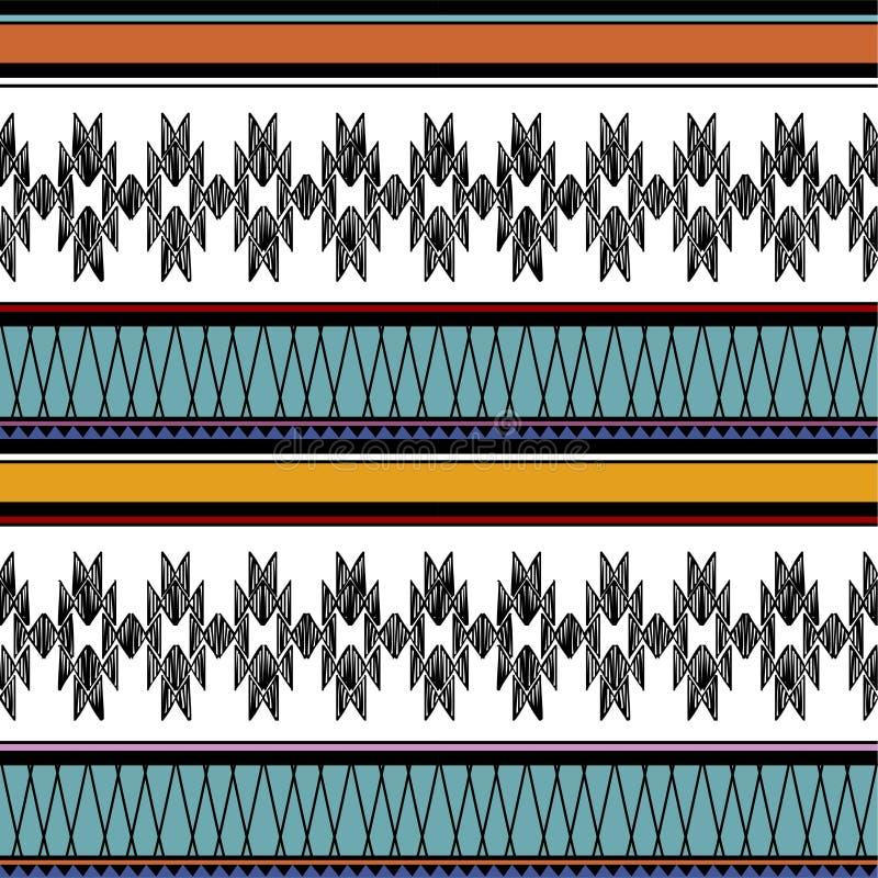 Modèle sans couture de Navajo de rétro vecteur tribal de couleurs Copie géométrique abstraite aztèque d'art fond ethnique de vect illustration de vecteur