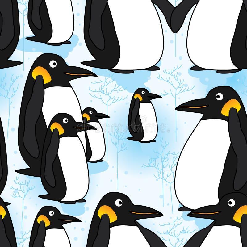 Modèle sans couture de neige de pingouin illustration stock