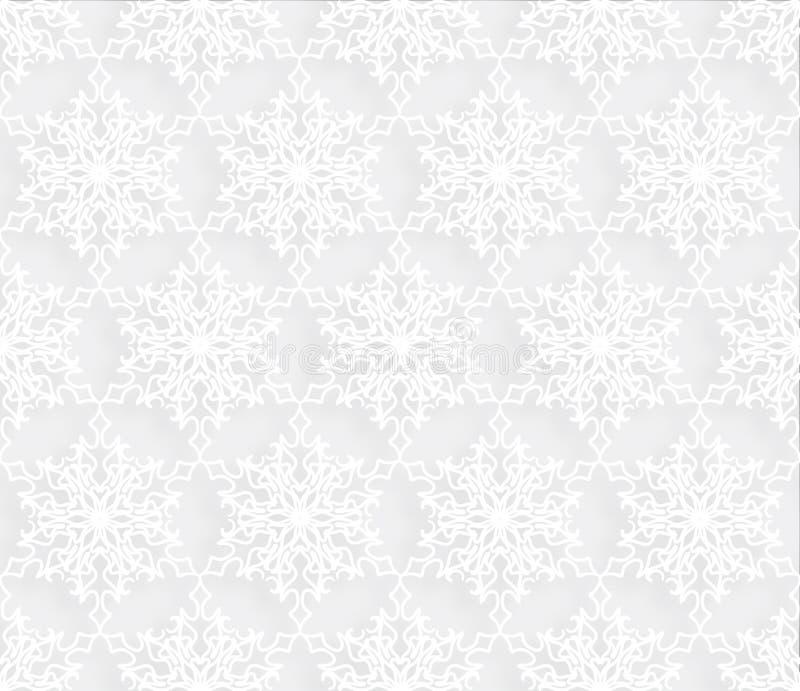 Modèle sans couture de neige Ornement de dentelle de tuile de flocons de neige de vacances d'hiver illustration de vecteur