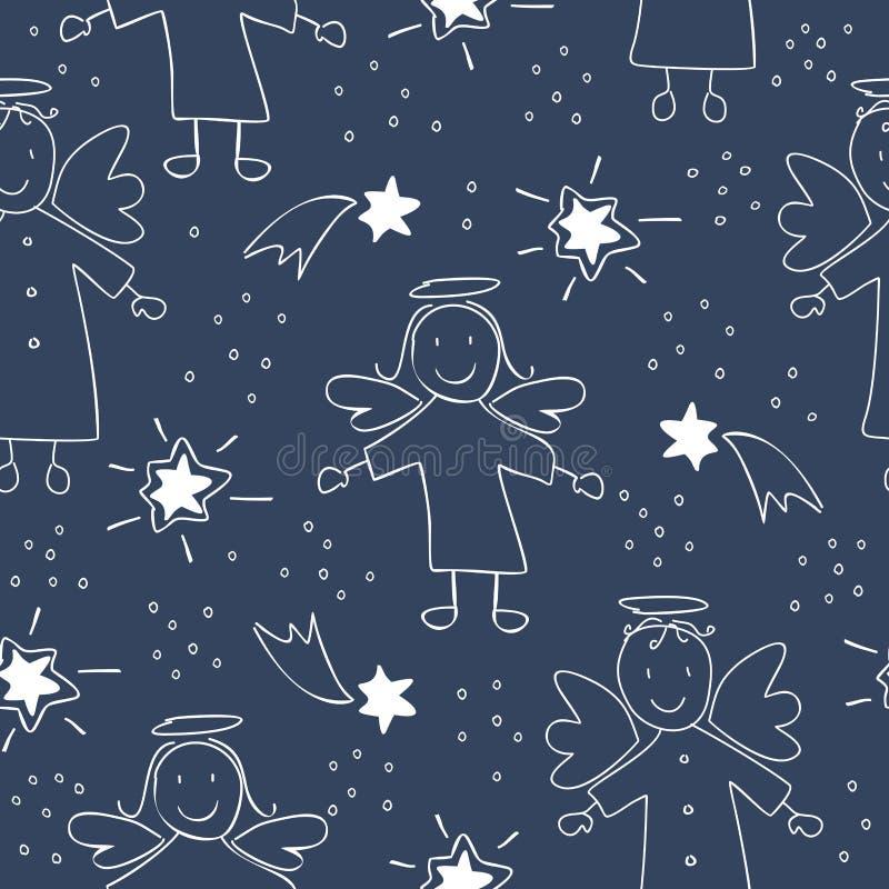 Modèle sans couture de Noël avec des anges et des étoiles illustration de vecteur