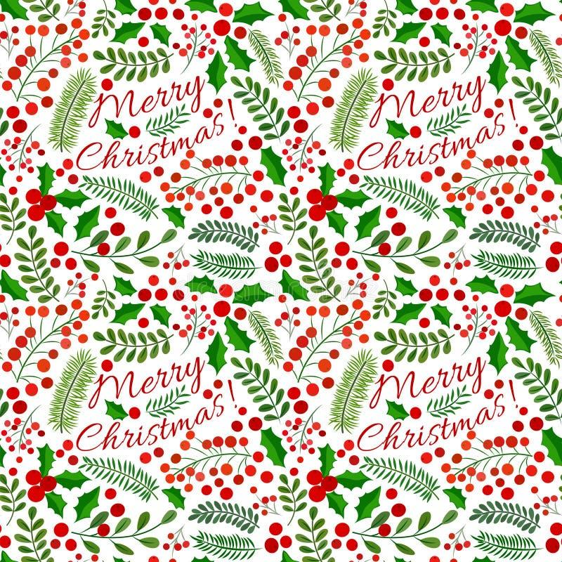 Modèle sans couture de Noël avec des branches de sapin, de feuilles de houx, de baies et Noël des textes du Joyeux illustration de vecteur