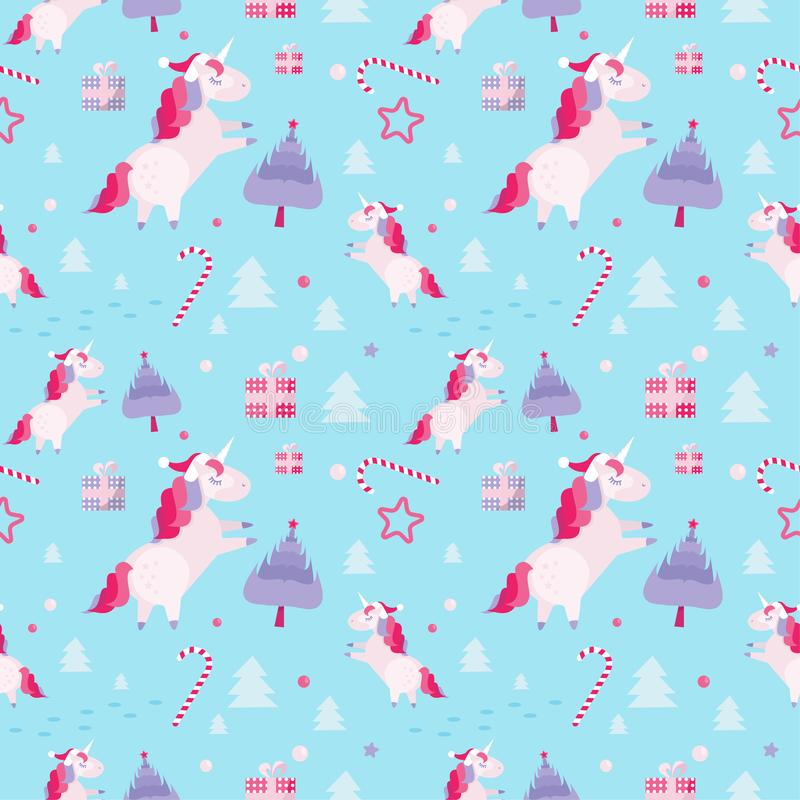 Modèle sans couture de Noël avec des licornes, sapins, canne de sucrerie, boîte-cadeau sur le fond bleu Calibre de vacances avec illustration stock
