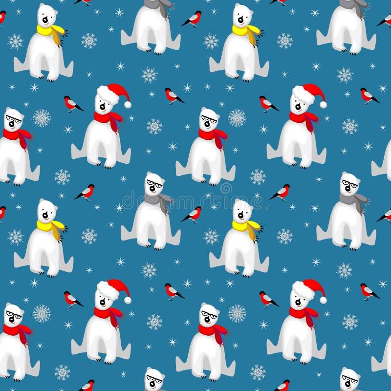 Modèle sans couture de Noël avec l'ours blanc blanc dans l'écharpe, les flocons de neige et l'oiseau de bouvreuil d'isolement sur illustration de vecteur