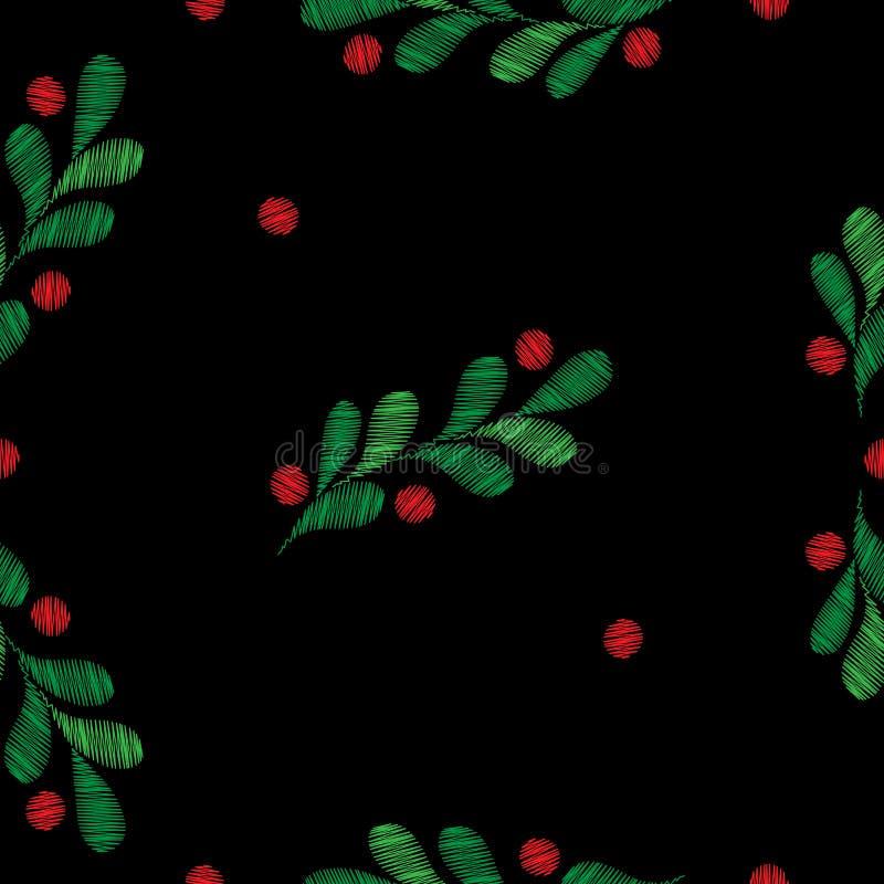 Modèle sans couture de Noël avec les branches et les baies impeccables illustration libre de droits